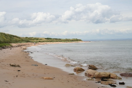 Walking to Cambo Estate along Kingsbarns Beach, Fife