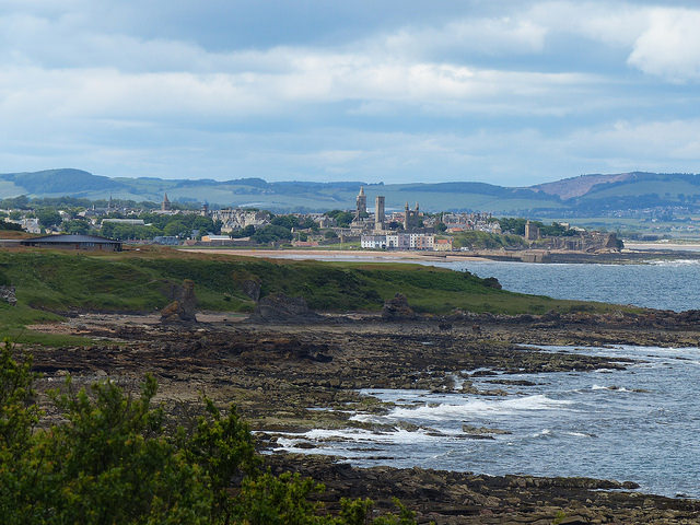 view towards St Andrews with Rock and Spindle in foreground