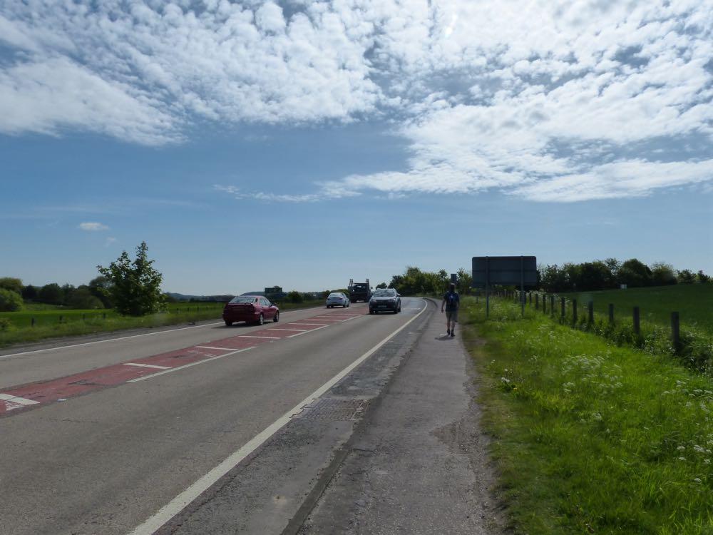 walking limekilns along side of busy road