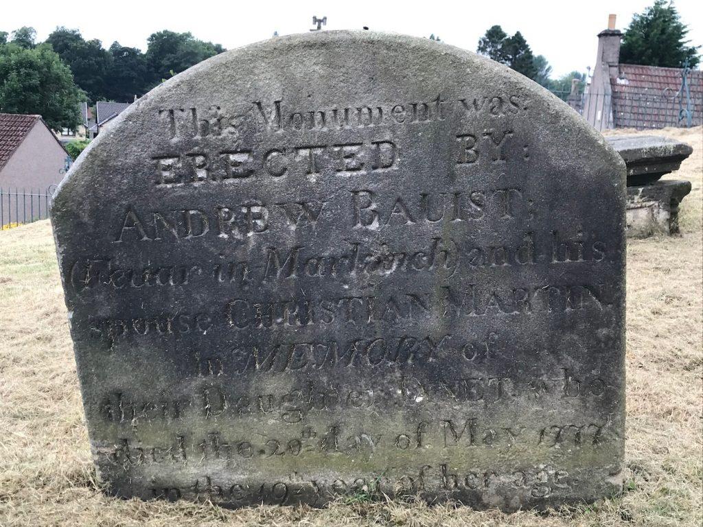 Gravestone in Markinch Churchyard